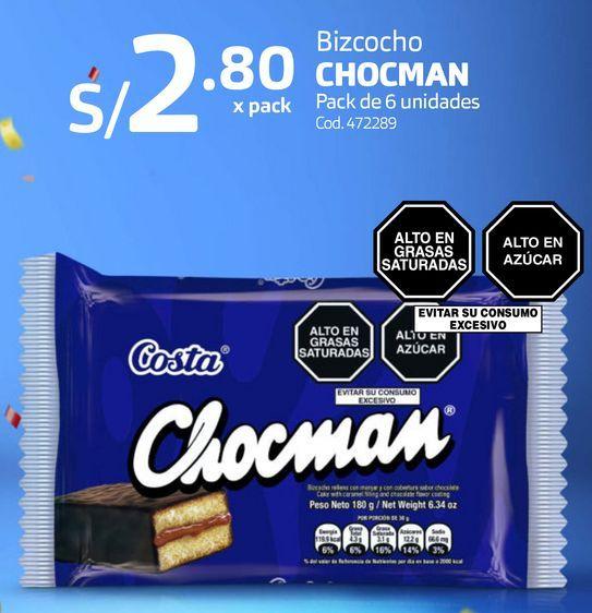Oferta de Bizcocho CHOCMAN Pack de 6 unidades por S/ 2,8