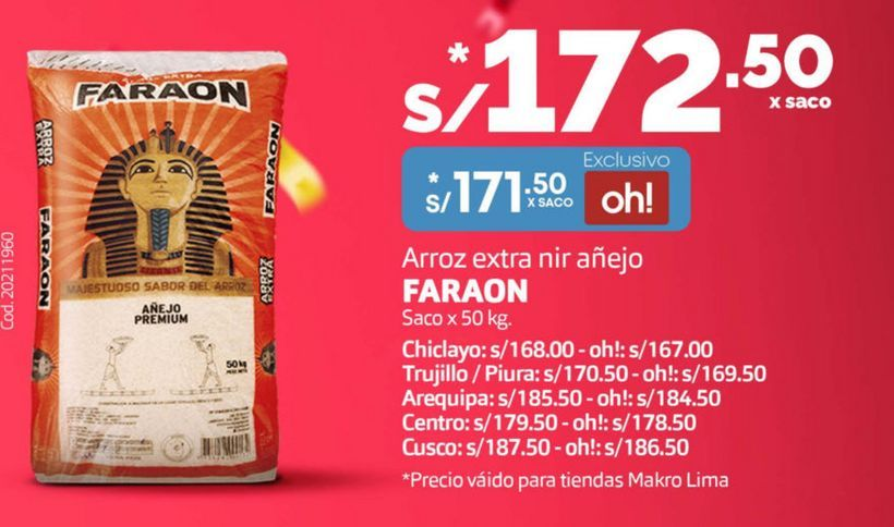 Oferta de Arroz extra nir añejo Faraon por S/ 171,5