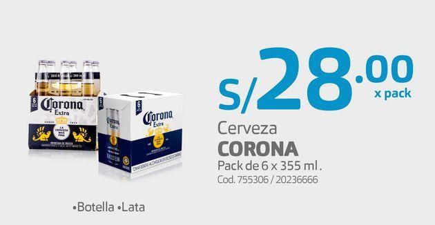 Oferta de Cerveza CORONA Pack de 6 x 355 ml . por S/ 28
