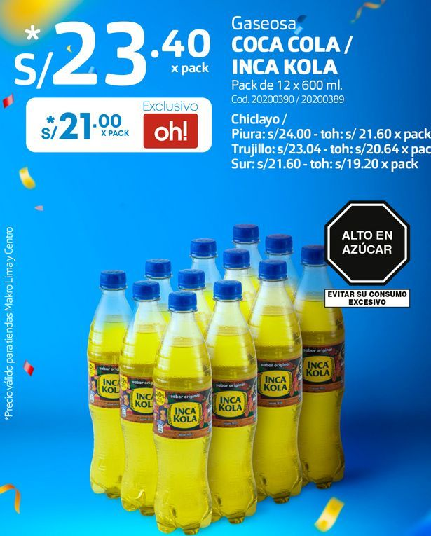 Oferta de Gaseosa COCA COLA / INCA KOLA Pack de 12 x 600 ml. por S/ 21
