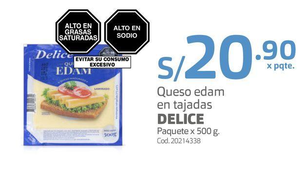 Oferta de Queso edam en tajadas DELICE Paquete x 500 g. por S/ 20,9