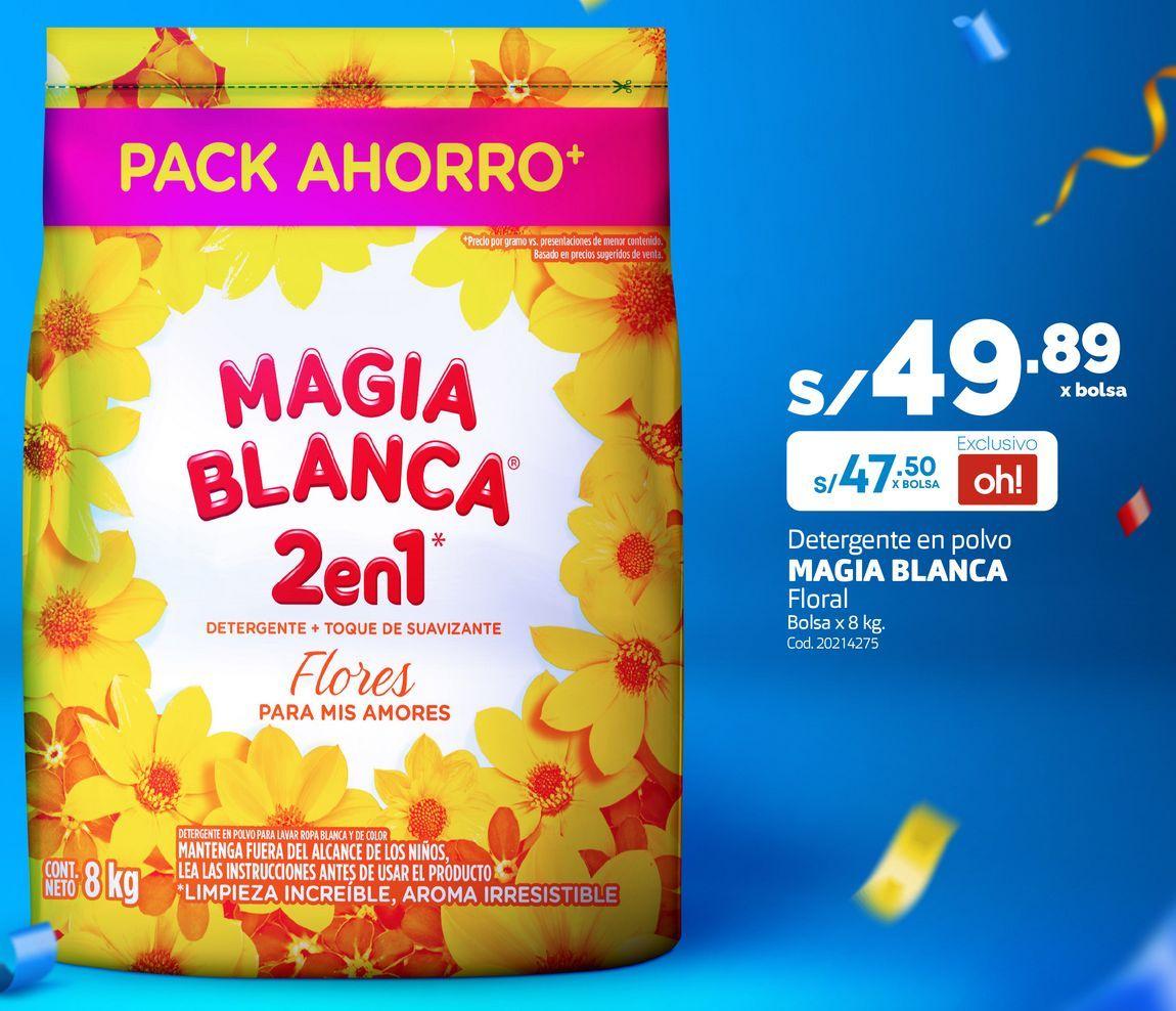 Oferta de Detergente en polvo MAGIA BLANCA Floral Bolsa x 8 kg. por S/ 47,5