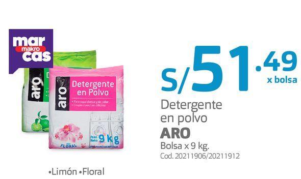 Oferta de Detergente en polvo ARO Bolsa x 9 kg por S/ 51,49