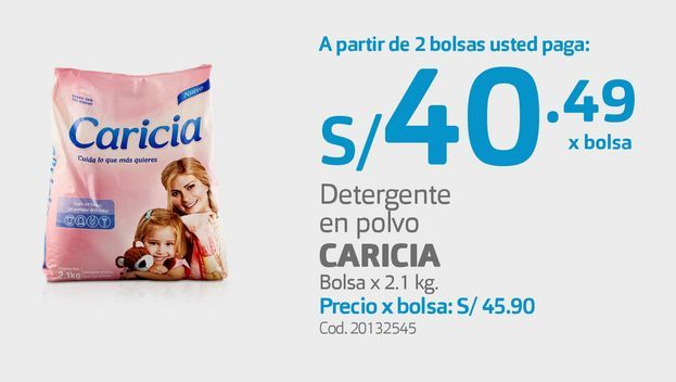 Oferta de Detergente en polvo CARICIA Bolsa x 2.1 kg por S/ 40,49