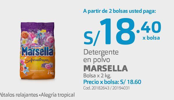 Oferta de Detergente en polvo MARSELLA Bolsa x 2 kg.  por S/ 18,4