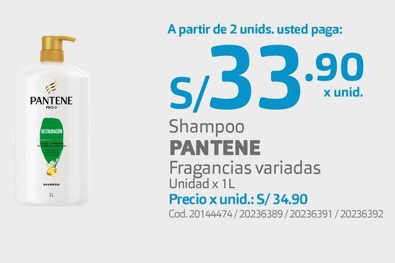 Oferta de Shampoo PANTENE Fragancias variadas Unidad x 1L por S/ 33,9