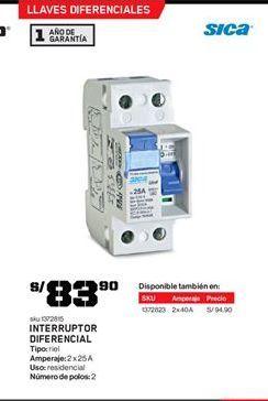 Oferta de Interruptor sica por S/ 83.9