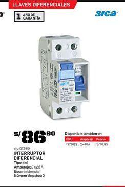 Oferta de Interruptor sica por S/ 86.9