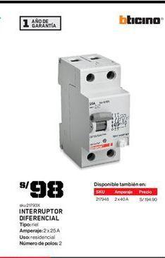 Oferta de Interruptor bticino por S/ 98