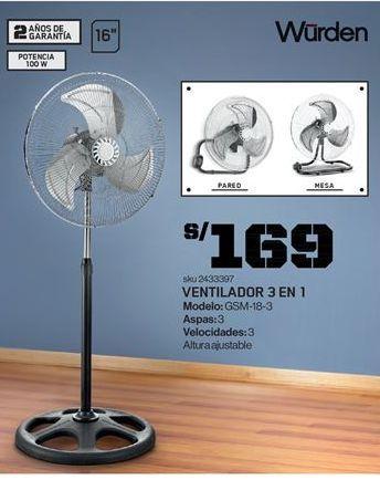 Oferta de Ventiladores Wurden por S/ 169