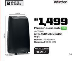 Oferta de Aire acondicionado Wurden por S/ 1499