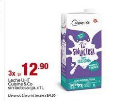 Oferta de Leche sin lactosa cuisine & co por S/ 12,9