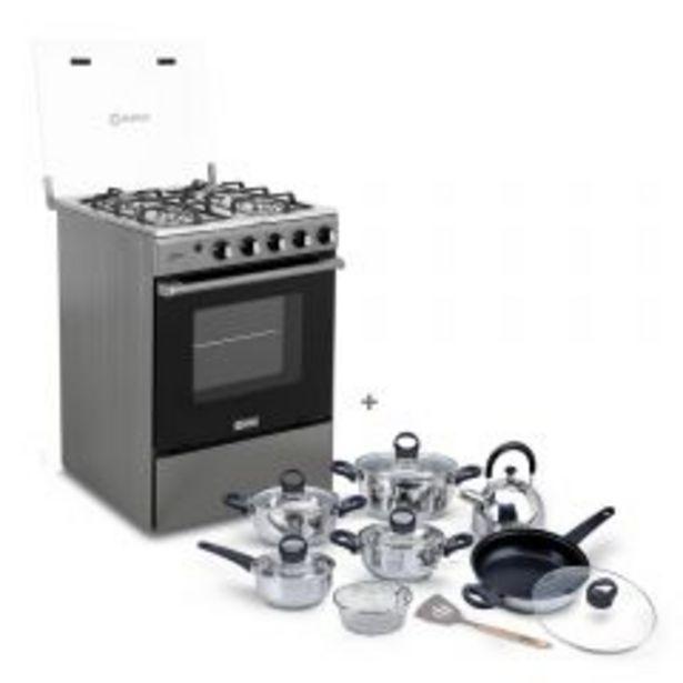 Oferta de Cocina a gas Miray Olmo 4 hornillas + Juego de Ollas Miray JOM-1302 por S/ 749