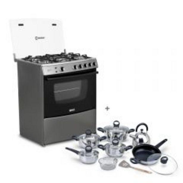 Oferta de Cocina a gas Miray Menta 5 hornillas + Juego de Ollas Miray JOM-1302 por S/ 1049