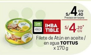 Oferta de Filetes de atún Tottus por S/ 4,4