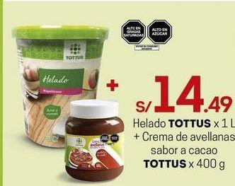Oferta de Helados Tottus + crema de avellanas por S/ 14,49