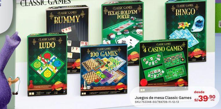Oferta de Juegos de mesa Classic Games por S/ 39,9