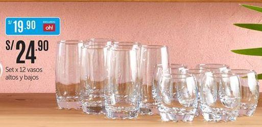 Oferta de Set x 12 vasos altos y bajos por S/ 24,9