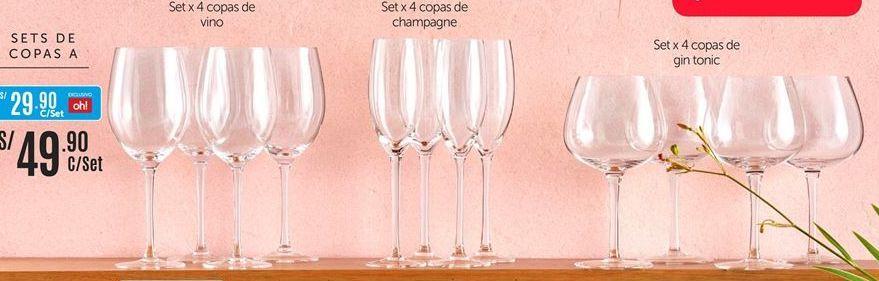 Oferta de Copas de vino o de champagne o de gintonic por S/ 49,9
