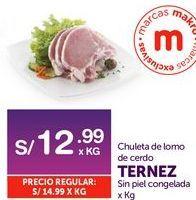 Oferta de Chuletas de lomo de cerdo Ternez por S/ 12,99