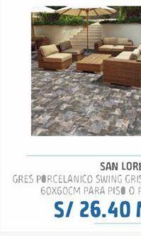 Oferta de Gres porcelanico Swing gris liso 60x60cm para piso o pared por S/ 26,4