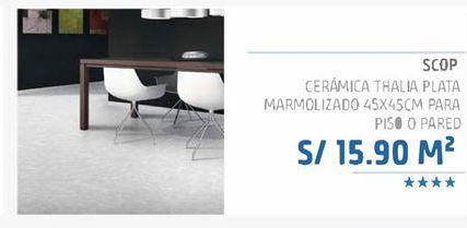 Oferta de Ceramica thalia plata marmolizado 45x45cm para piso o pared por S/ 15,9