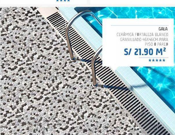 Oferta de Gala ceramica fortaleza blanco granillado 46x46cm para piso o pared por S/ 21,9