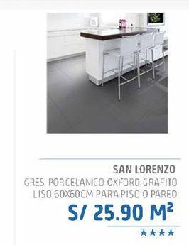 Oferta de Gres porcelanico oxford grafito liso 60x60cm para piso o pared por S/ 25,9