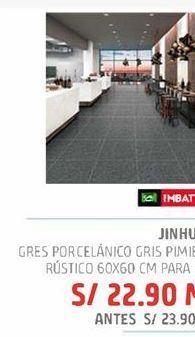 Oferta de Gres porcelanico gris piienta rustico 60x60cm para piso por S/ 22,9
