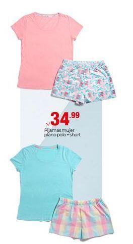 Oferta de Pijama mujer plano polo + short por S/ 34,99
