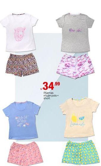 Oferta de Pijama mujer polo + short por S/ 34,99