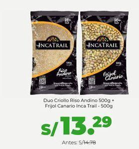 Oferta de Duo Criollo Riso Andino Bolsa 500g + Frijol Canario Bolsa Inca Trail - 500g por S/ 13,29
