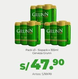 Oferta de Pack x3 - Cerveza Grunn - Sixpack Lt x 355 ml por S/ 47,9