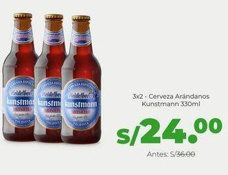 Oferta de 3x2 - Cerveza Kunstmann Arándanos 330 ml por S/ 24