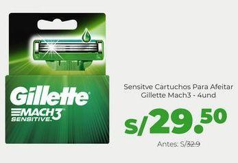 Oferta de Gillette Mach3 Sensitve Cartuchos Para Afeitar 4 Unidades por S/ 29,5