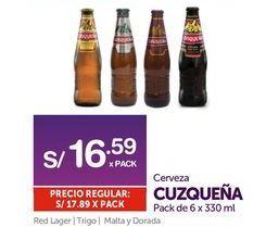 Oferta de Cerveza Cusqueña por S/ 16,59