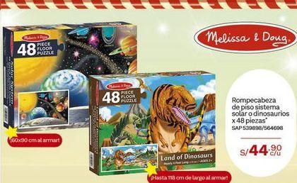 Oferta de Rompecabeza de piso sistema solar o dinosaurios x48 piezas por S/ 44,9