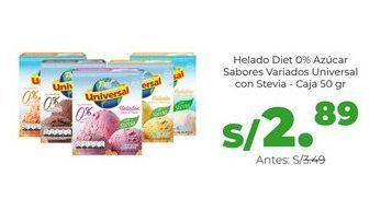 Oferta de Helado Diet 0% Azúcar Sabores Variados Universal con Stevia - Caja 50 gr por S/ 2,89