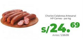 Oferta de Chorizo Calabresa Artesanal HP Carnes - por kg por S/ 24,69