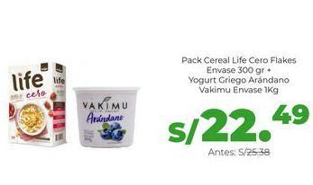 Oferta de Pack Cereal Life Cero Flakes Envase 300 gr + Yogurt Griego Arándano Vakimu Envase 1Kg por S/ 22,49