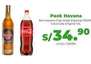 Oferta de Pack Havana: Ron Havana Club Añejo Especial 700 ml + Coca Cola Original 1.5L por S/ 34,9