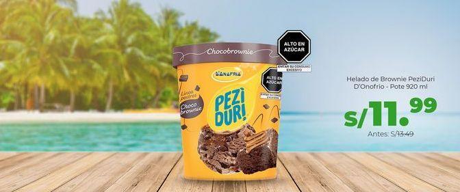 Oferta de Helado de Brownie PeziDuri D'onofrio - Pote 920 ml por S/ 11,99