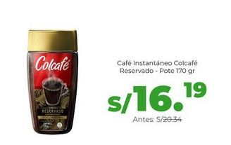 Oferta de Café Instantáneo Colcafé Reservado - Pote 170 gr por S/ 16,19