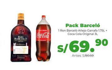 Oferta de Pack Barceló 1.75L: 1 Ron Barceló Añejo Garrafa 1.75L + Coca Cola Original 3Lron Barceló por S/ 69,9