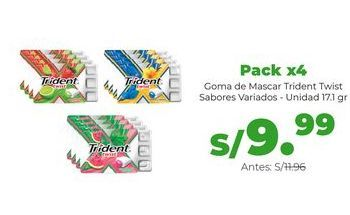 Oferta de Pack x4 Goma de Mascar Trident Twist Sabores Variados - Unidad 17.1gr por S/ 9,99