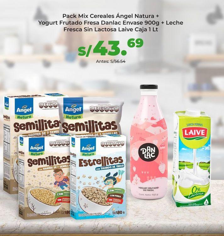 Oferta de Pack Mix Cereales Ángel Natura + Yogurt Frutado Fresa Danlac Envase 900g + Leche Fresca Sin Lactosa Laive Caja 1 Lt por S/ 43,69