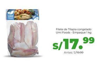 Oferta de Filete de Tilapia congelado Umi Foods - Empaque 1 kg por S/ 17,99