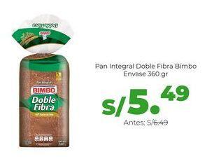 Oferta de Pan Integral Doble Fibra Bimbo - Envase 360 gr por S/ 5,49