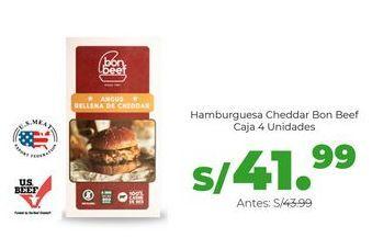 Oferta de Hamburguesa Cheddar Bon Beef - Caja 4 Unidades por S/ 41,99