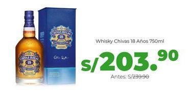 Oferta de Whisky Chivas 18 Años 750ml por S/ 203,9